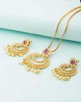 Buy designer pendant sets beige stones studded traditional pendant designer white red stones studded pendant set with chain aloadofball Choice Image
