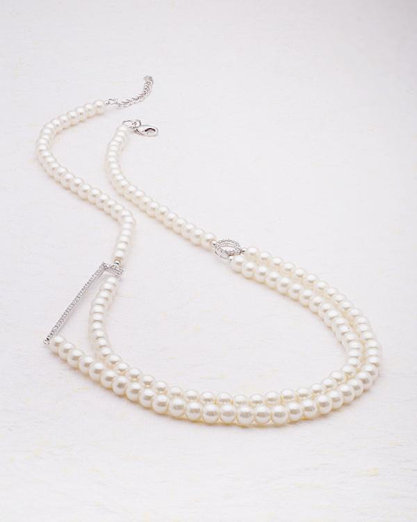 Buy designer necklaces cz embellished side pendant pearl necklace cz embellished side pendant pearl necklace from pearl galleria mozeypictures Images