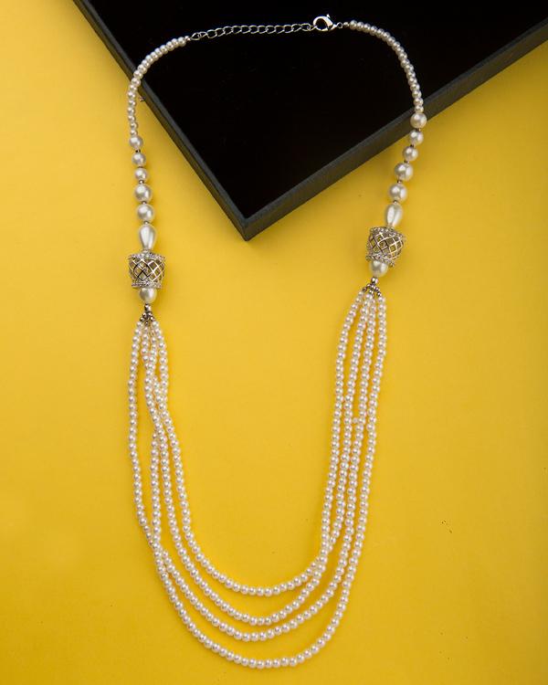 Buy designer necklaces cz studded side pendant pearl necklace from cz studded side pendant pearl necklace from pearl galleria mozeypictures Images