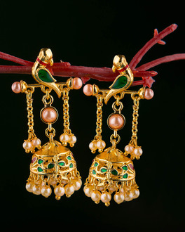 Gold Plated Bird Motif And Pearl Earring From Vyoma Pride